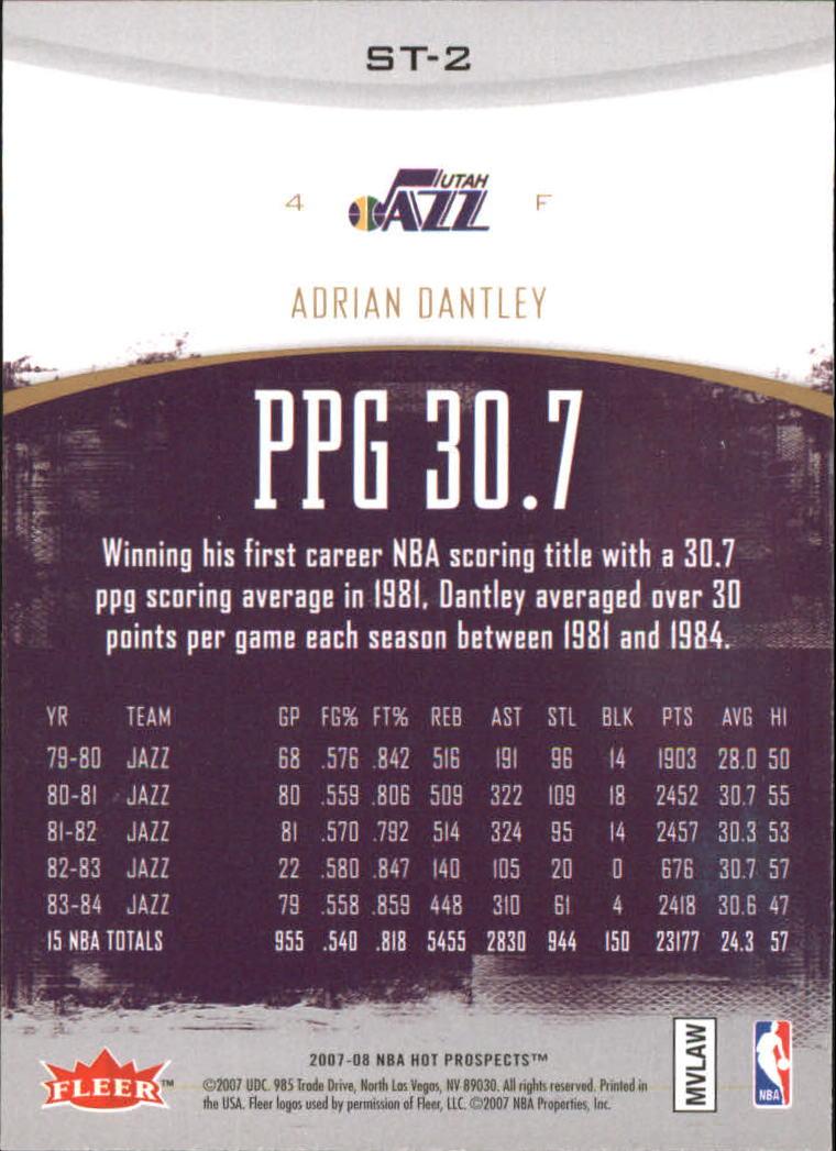 2007-08 Fleer Hot Prospects Stat Tracker #2 Adrian Dantley back image