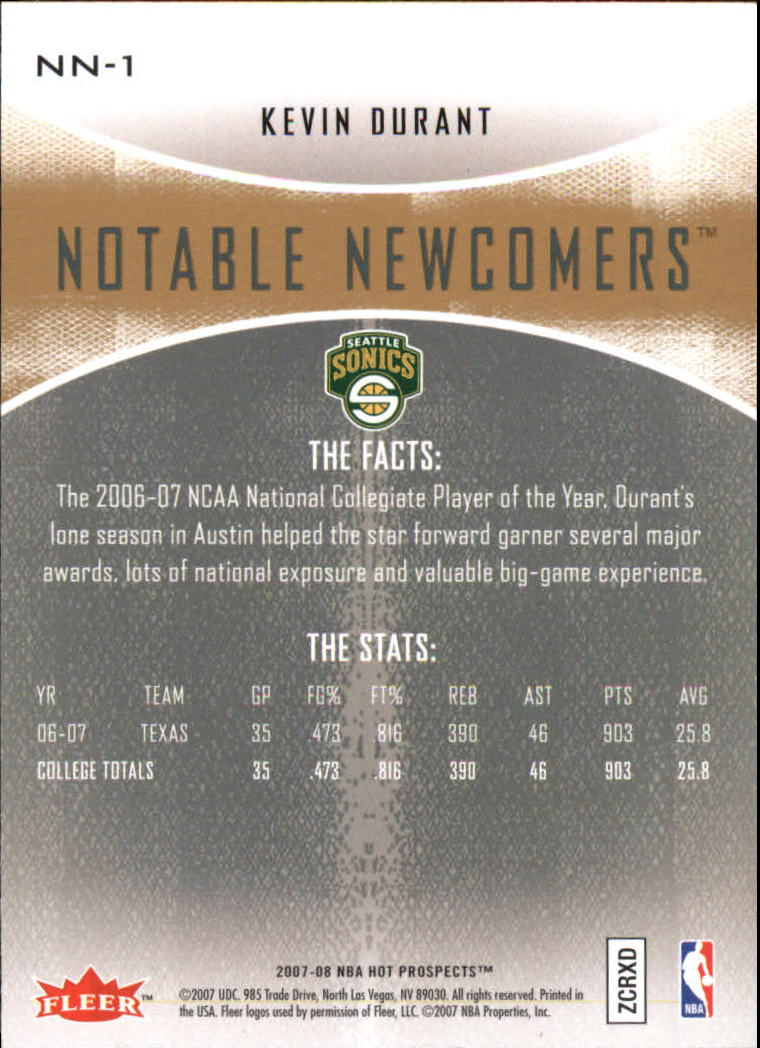 2007-08 Fleer Hot Prospects Notable Newcomers #1 Kevin Durant back image