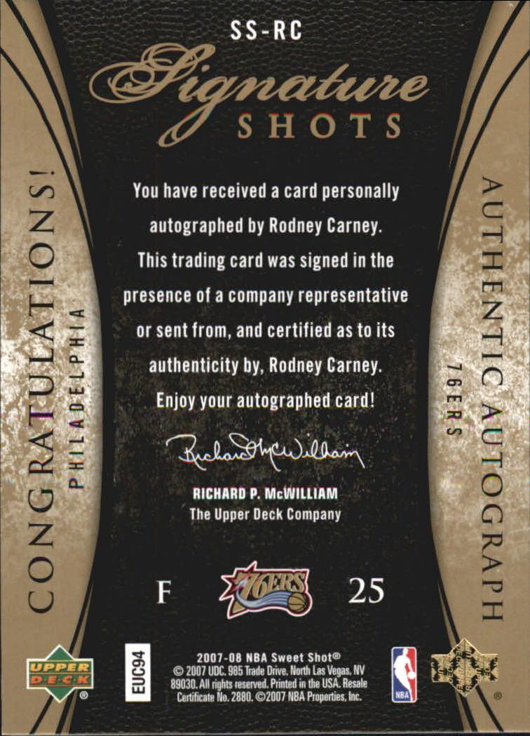 2007-08 Sweet Shot Signature Shots #RC Rodney Carney/220 back image