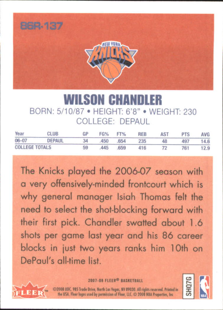 2007-08 Fleer 1986-87 Rookies #137 Wilson Chandler back image