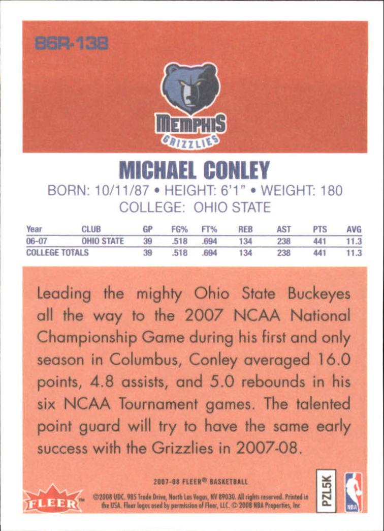 2007-08 Fleer 1986-87 Rookies #138 Mike Conley Jr. back image