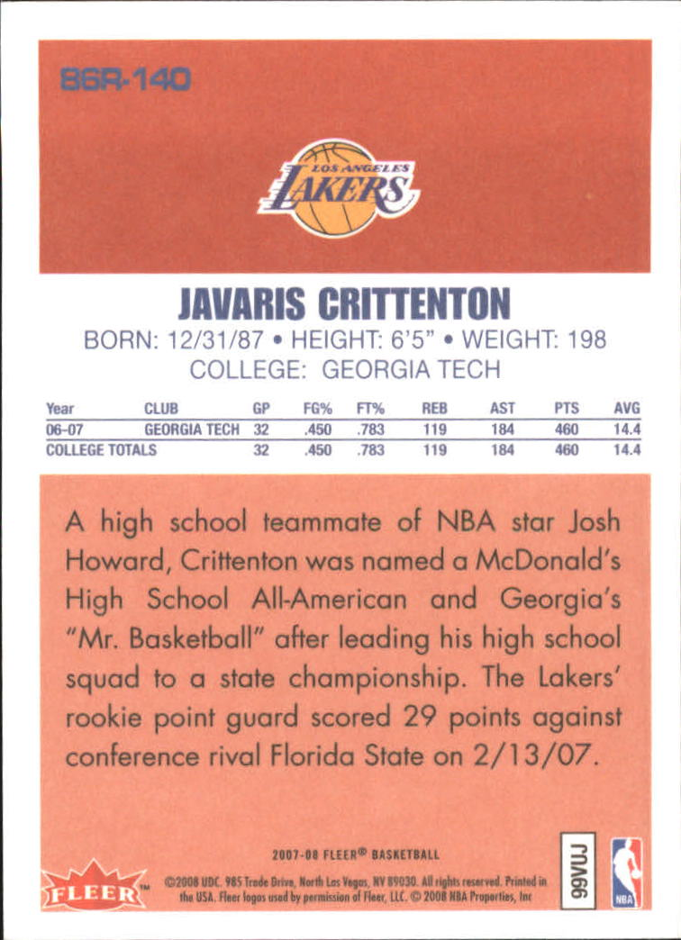 2007-08 Fleer 1986-87 Rookies #140 Javaris Crittenton back image