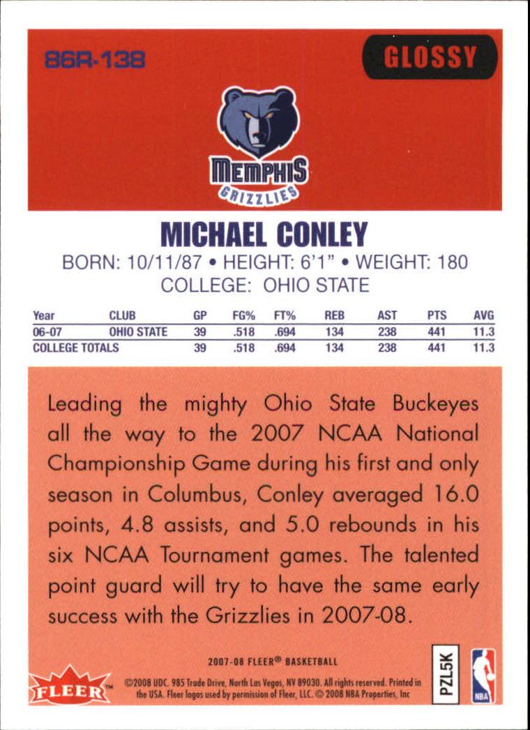 2007-08 Fleer 1986-87 Rookies Glossy #138 Mike Conley Jr. back image