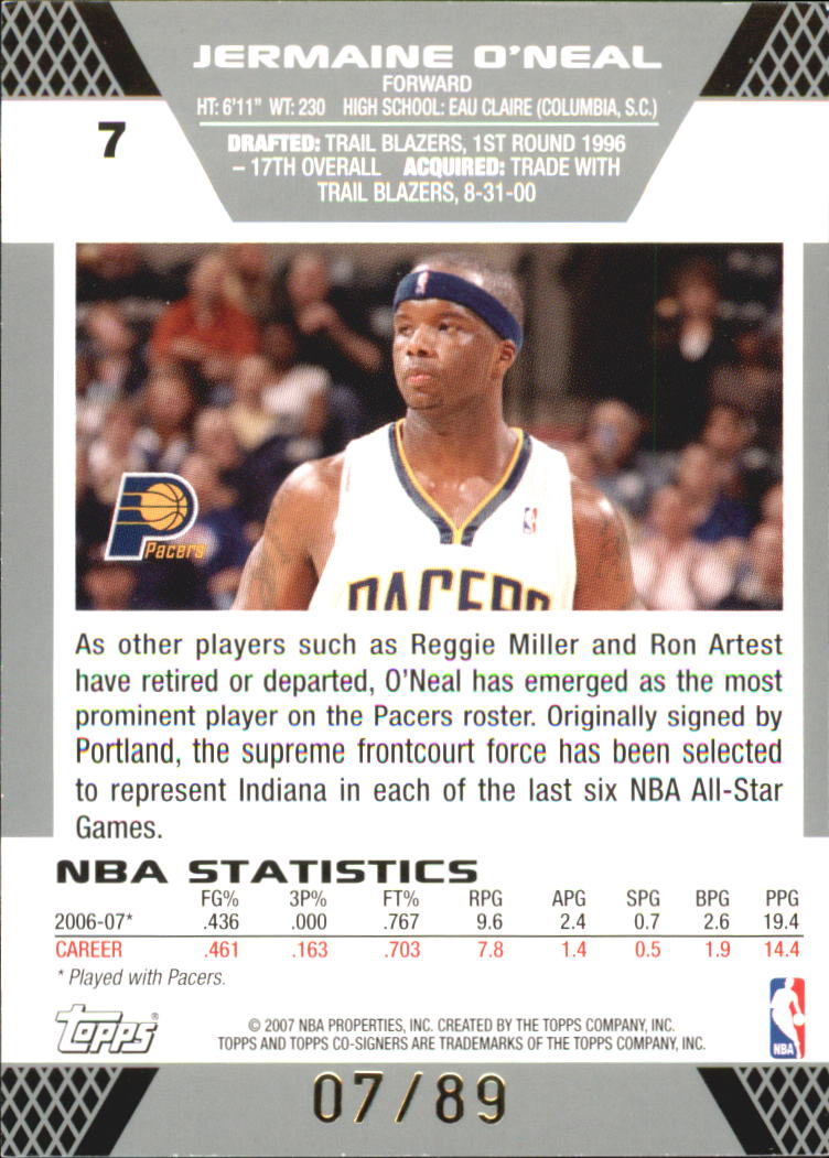 2007-08 Topps Co-Signers Gold Blue #7A Jermaine O'Neal/Troy Murphy back image