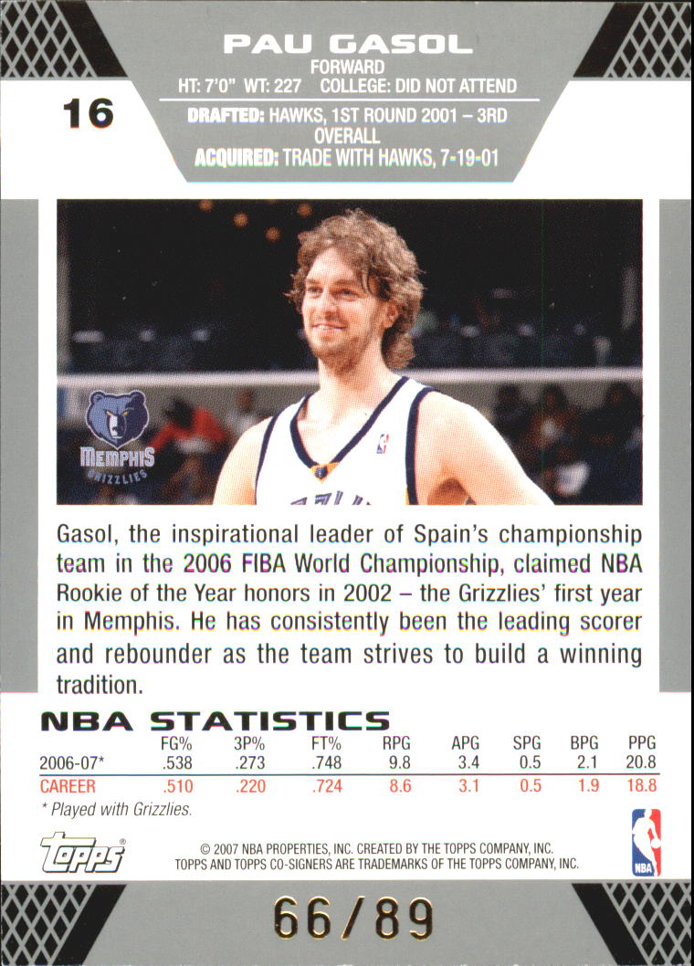 2007-08 Topps Co-Signers Gold Blue #16 Pau Gasol/Mike Miller back image
