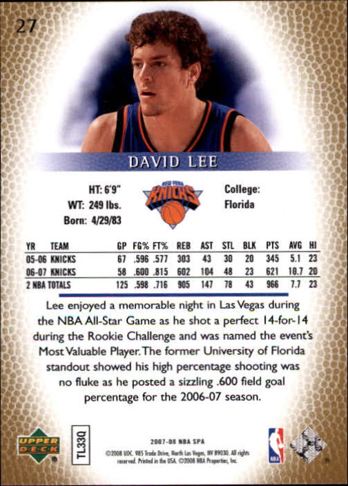 2007-08 SP Authentic #27 David Lee back image