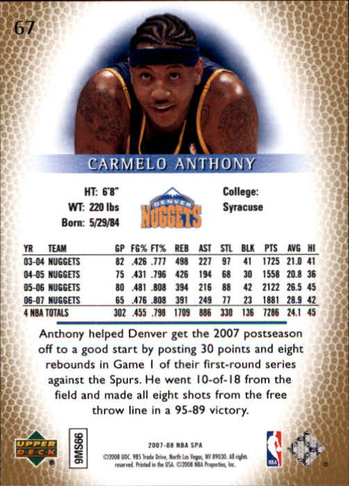 2007-08 SP Authentic #67 Carmelo Anthony back image