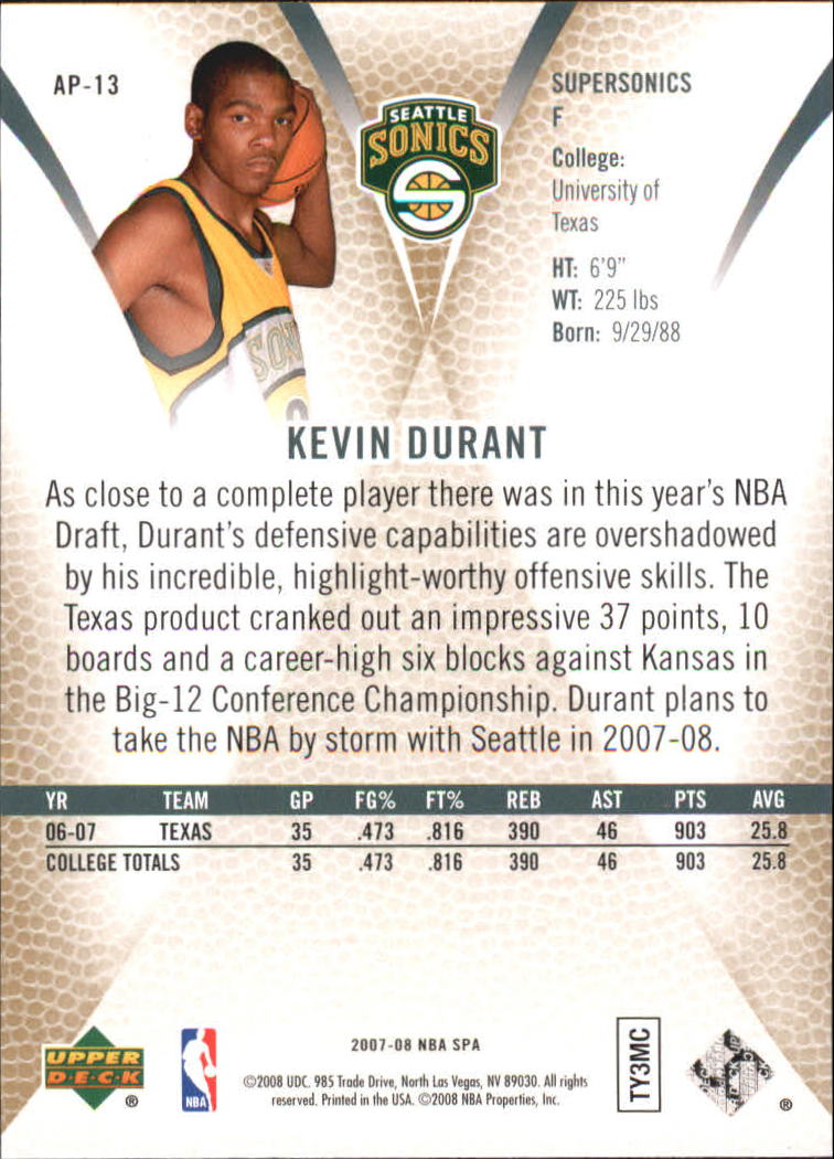 2007-08 SP Authentic Profiles #AP13 Kevin Durant back image