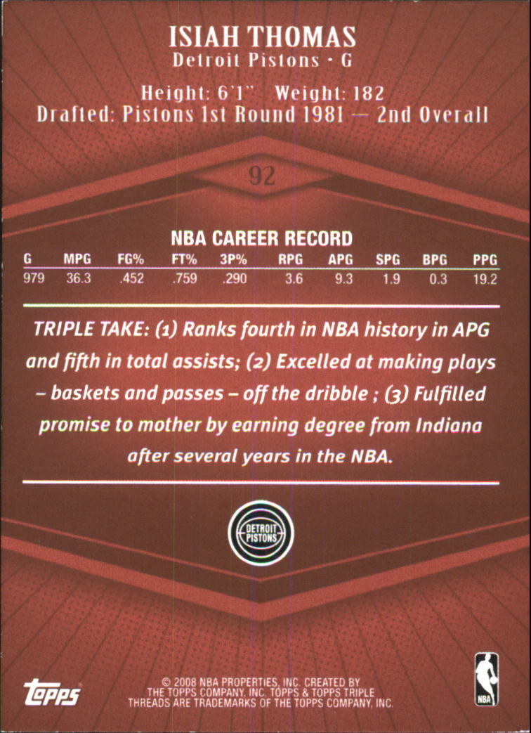 2007-08 Topps Triple Threads #92 Isiah Thomas back image