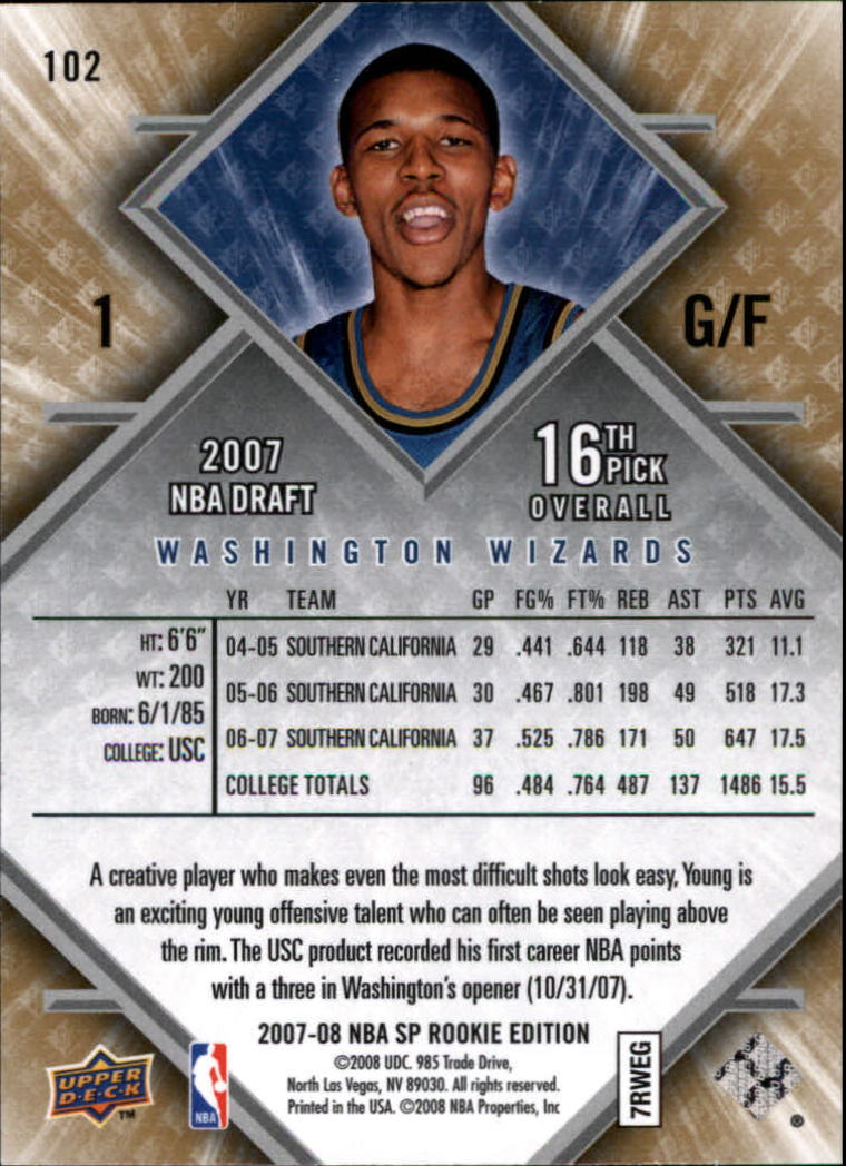 2007-08 SP Rookie Edition #102 Nick Young RC back image