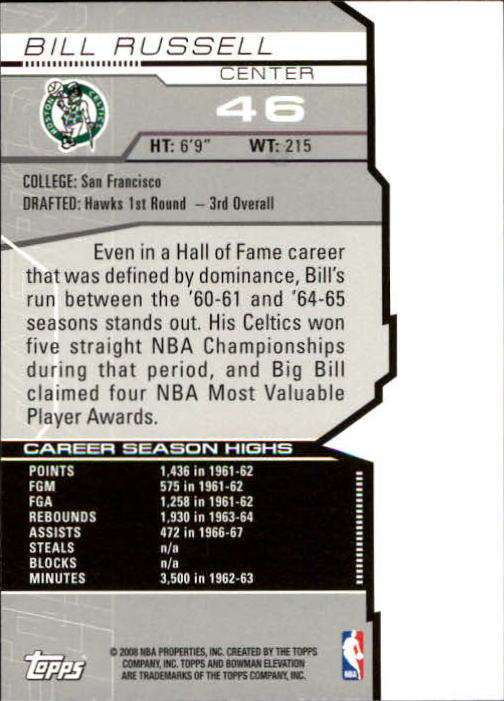 2007-08 Bowman Elevation #46 Bill Russell back image