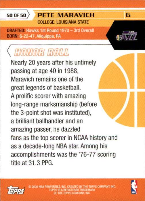 2007-08 Topps 50th Anniversary #50 Pete Maravich back image