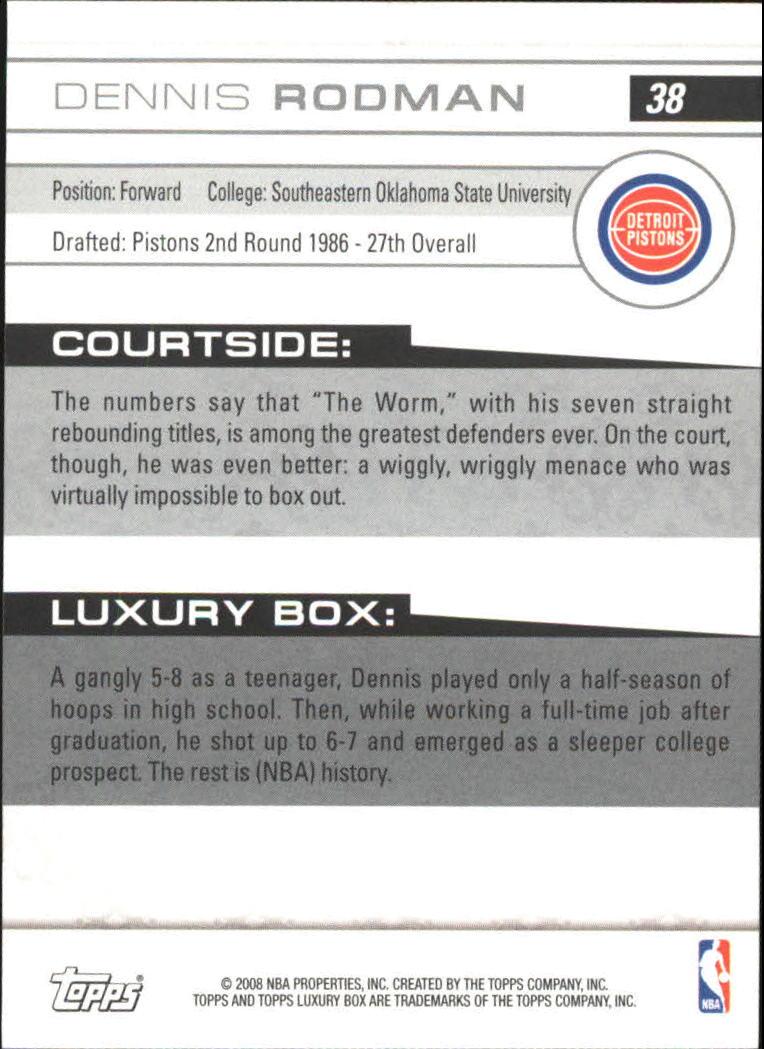 2007-08 Topps Luxury Box #38 Dennis Rodman back image