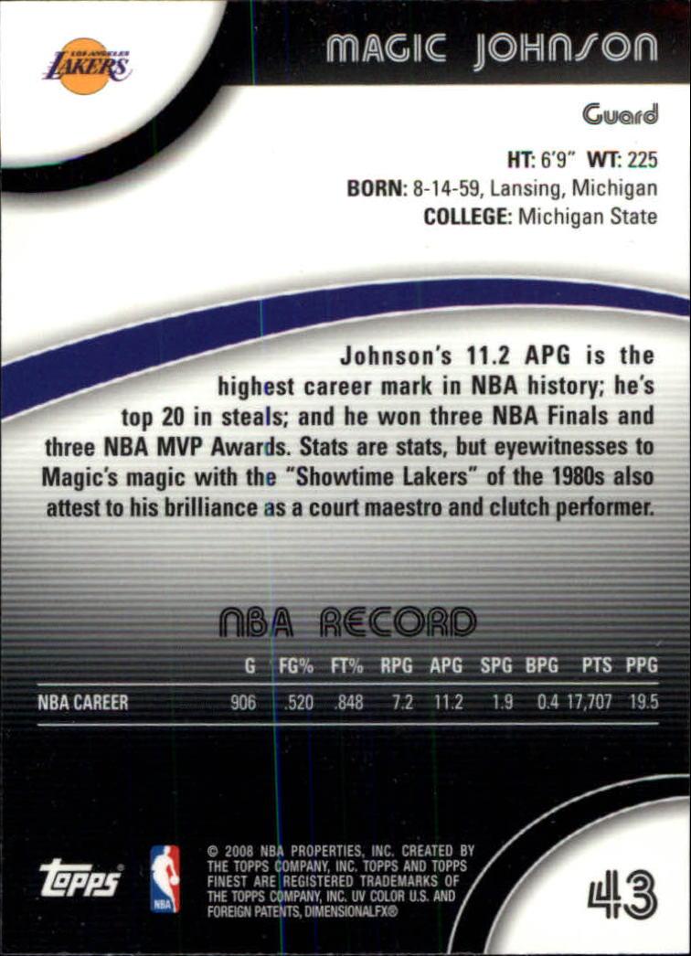 2007-08 Finest #43 Magic Johnson back image