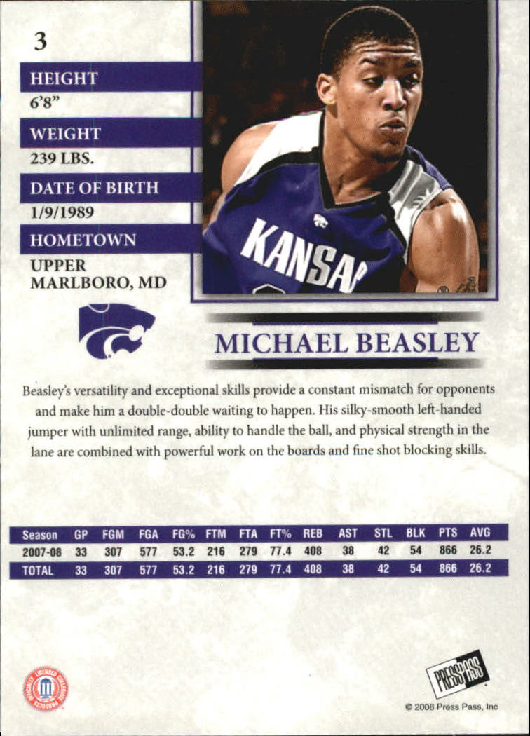 2008 Press Pass #3 Michael Beasley back image