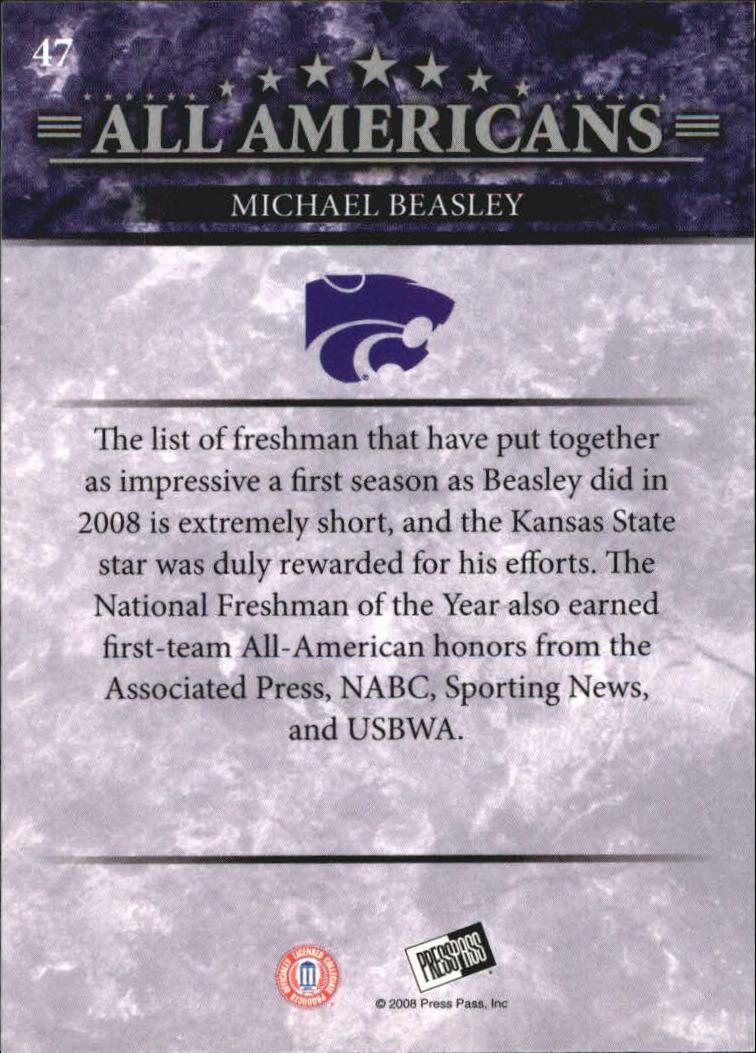 2008 Press Pass #47 Michael Beasley AA back image