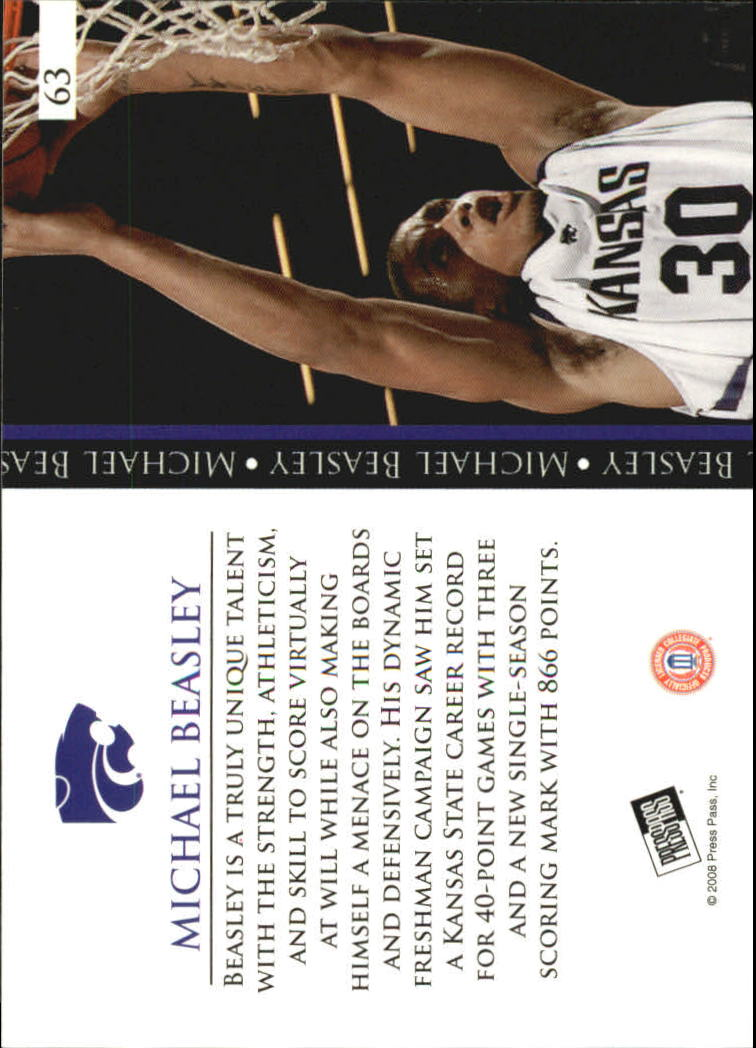 2008 Press Pass #63 Michael Beasley PP back image