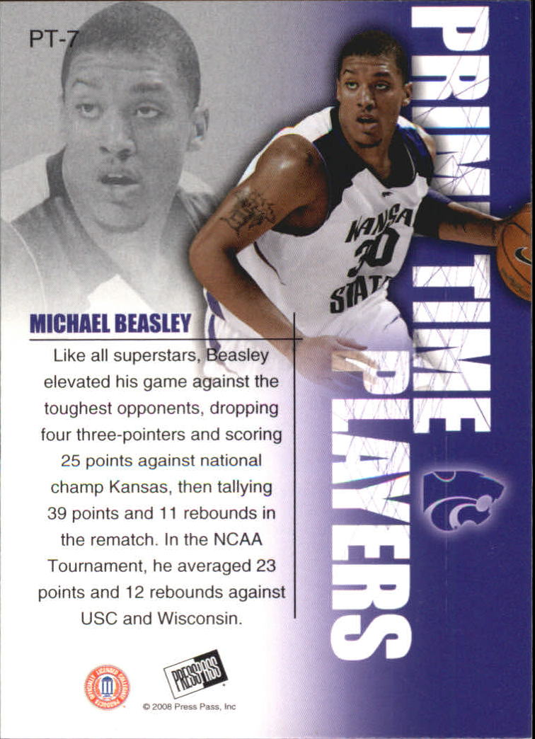 2008 Press Pass Primetime Players #PT7 Michael Beasley back image