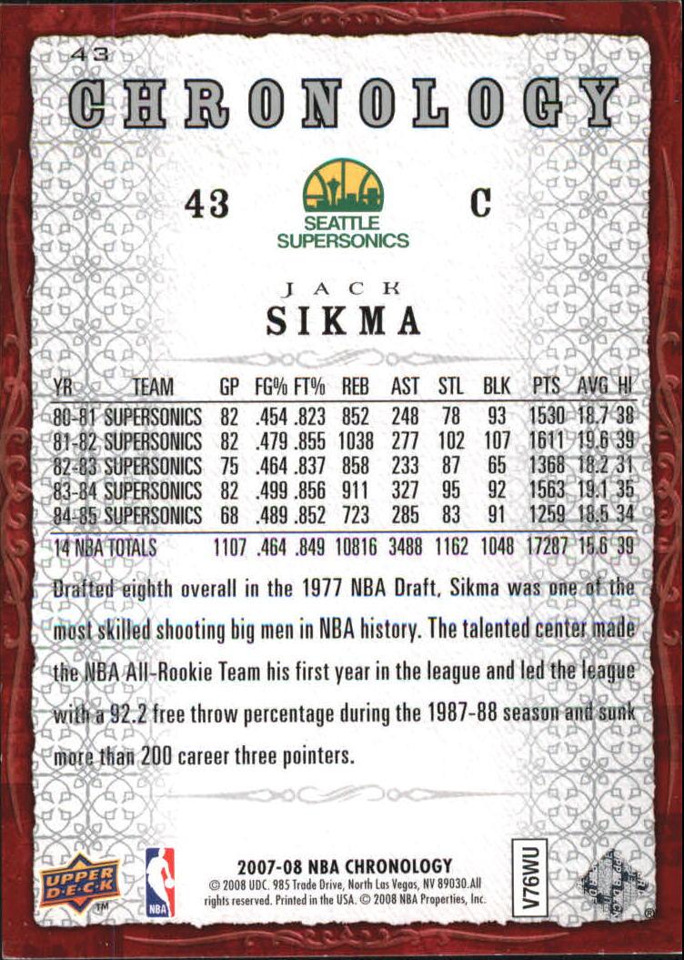 2007-08 Chronology #43 Jack Sikma back image
