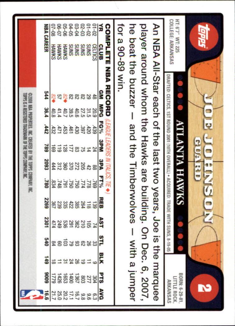 2008-09 Topps #2 Joe Johnson back image
