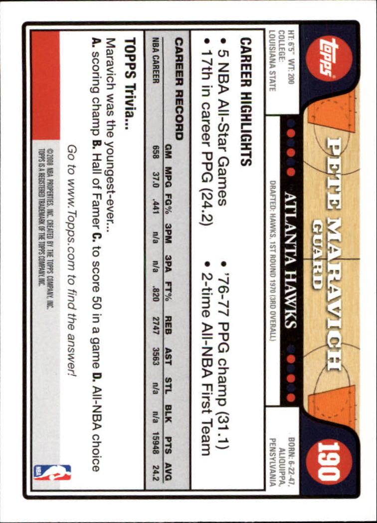 2008-09 Topps #190 Pete Maravich back image
