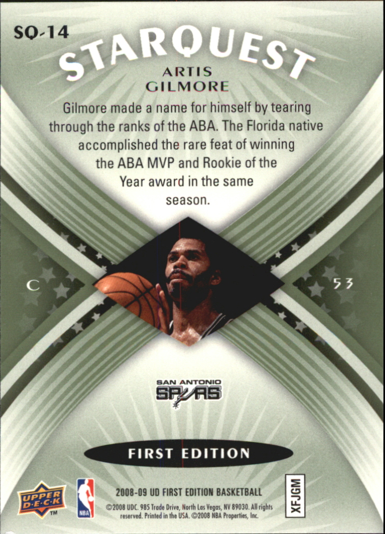 2008-09 Upper Deck First Edition Starquest Green #SQ14 Artis Gilmore back image