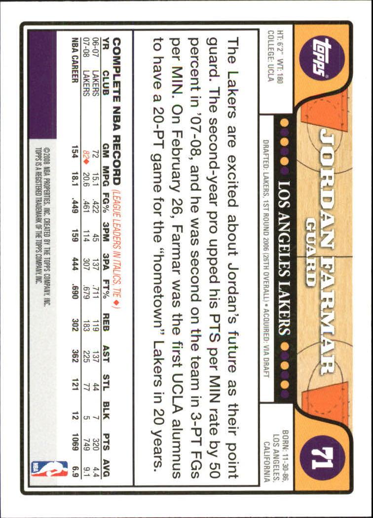 2008-09 Topps Gold Foil #71 Jordan Farmar back image