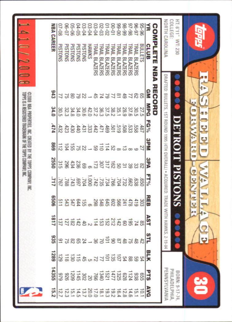 2008-09 Topps Gold Border #30 Rasheed Wallace back image
