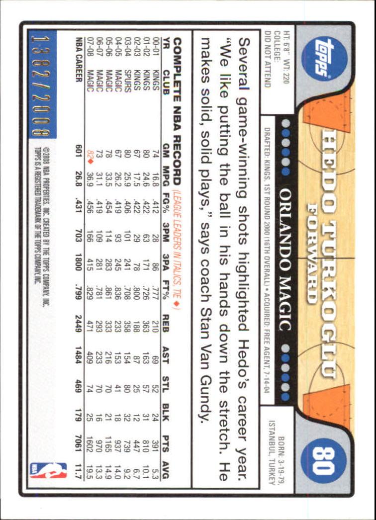 2008-09 Topps Gold Border #80 Hedo Turkoglu back image
