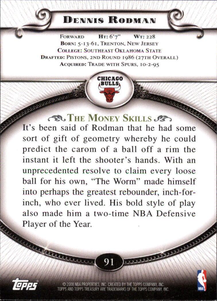 2008-09 Topps Treasury #91 Dennis Rodman back image
