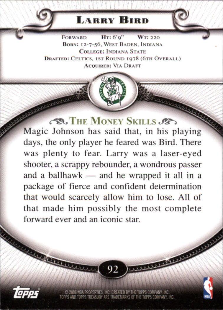 2008-09 Topps Treasury #92 Larry Bird back image