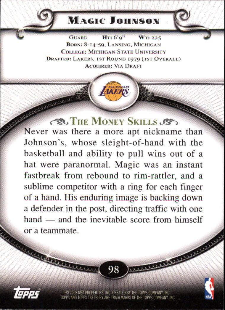 2008-09 Topps Treasury #98 Magic Johnson back image