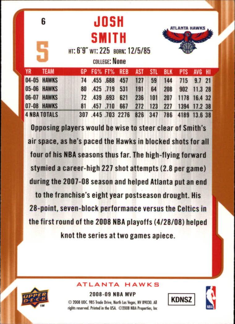 2008-09 Upper Deck MVP #6 Josh Smith back image
