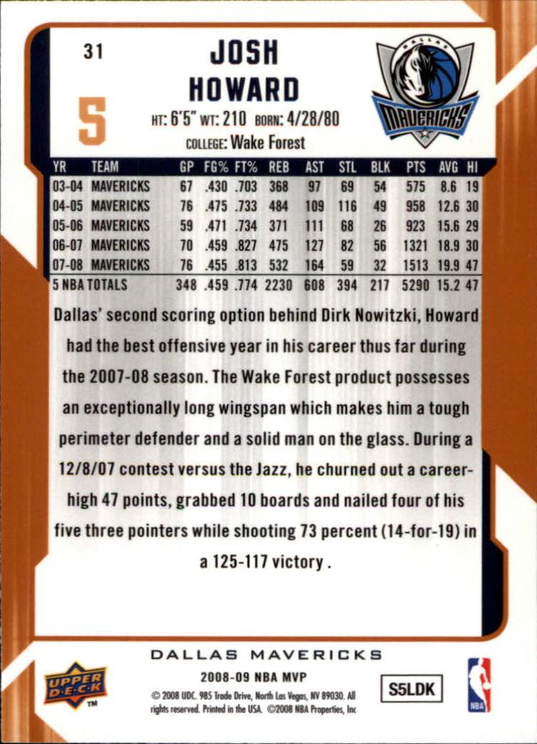 2008-09 Upper Deck MVP #31 Josh Howard back image