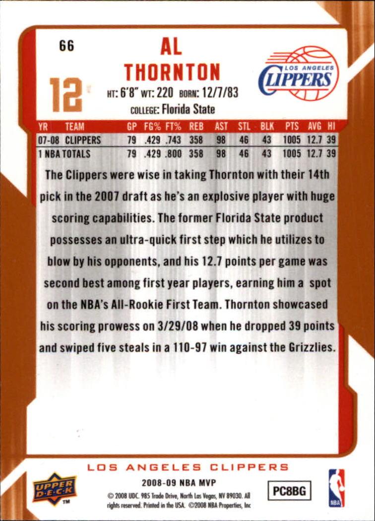 2008-09 Upper Deck MVP #66 Al Thornton back image