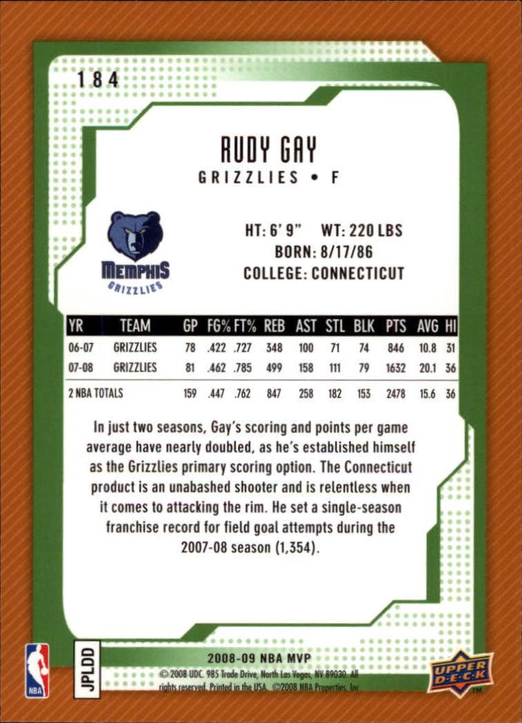 2008-09 Upper Deck MVP #184 Rudy Gay back image