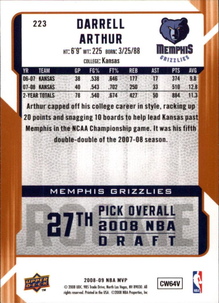 2008-09 Upper Deck MVP #223 Darrell Arthur RC back image
