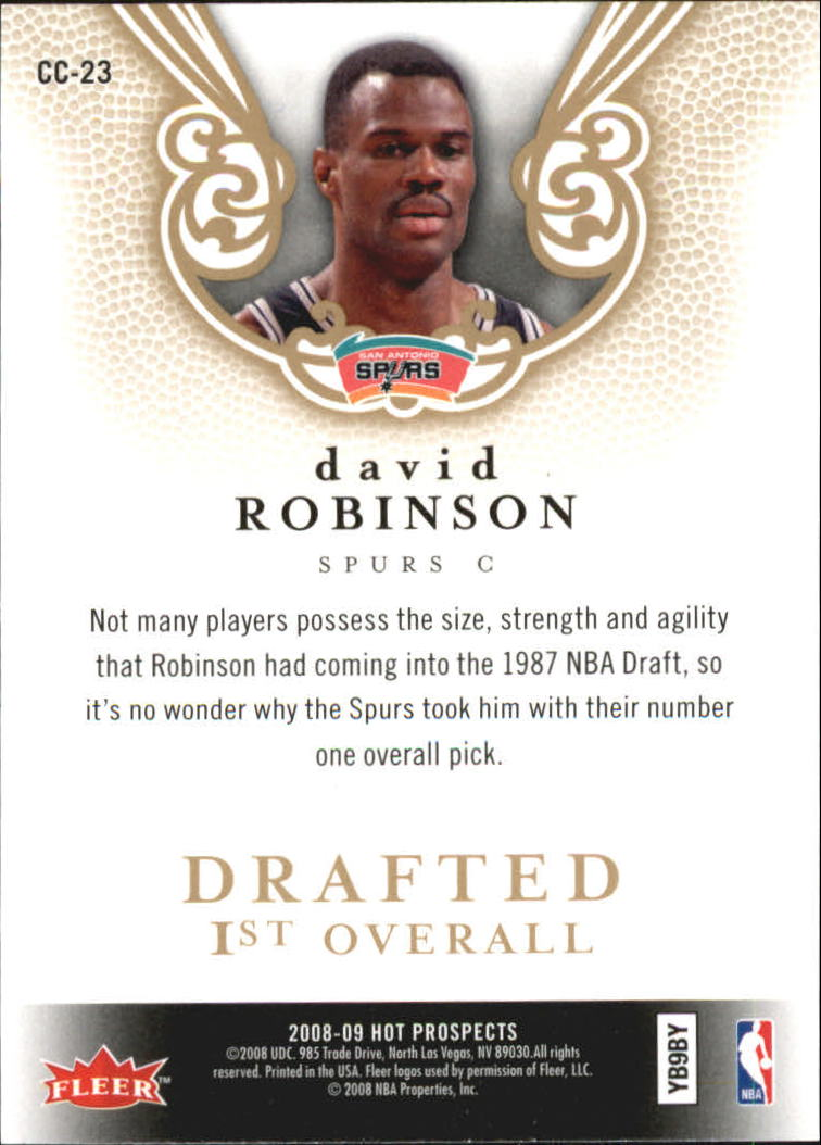 2008-09 Hot Prospects Cream of the Crop #CC23 David Robinson back image