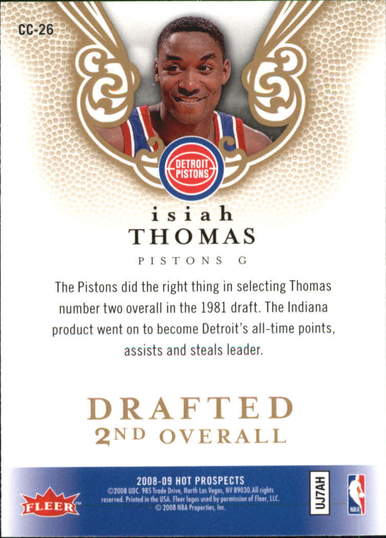 2008-09 Hot Prospects Cream of the Crop #CC26 Isiah Thomas back image