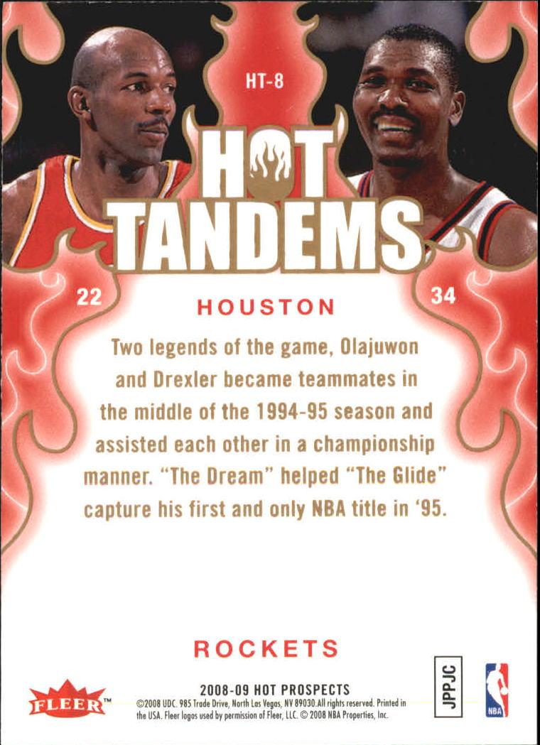 2008-09 Hot Prospects Hot Tandems #HT8 Clyde Drexler/Hakeem Olajuwon back image