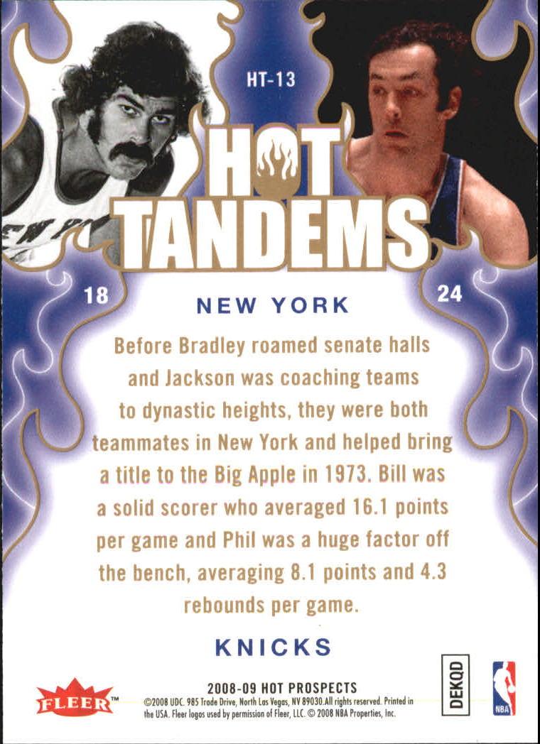 2008-09 Hot Prospects Hot Tandems #HT13 Phil Jackson/Bill Bradley back image