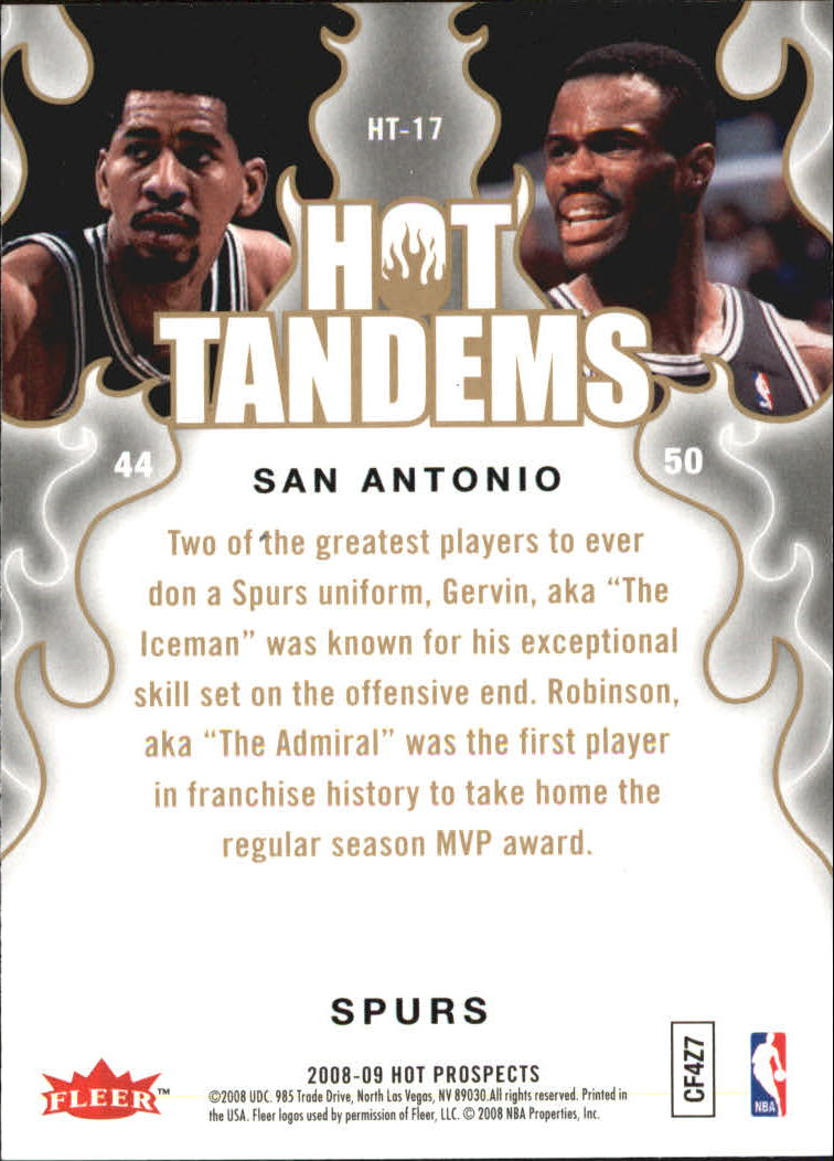 2008-09 Hot Prospects Hot Tandems #HT17 George Gervin/David Robinson back image