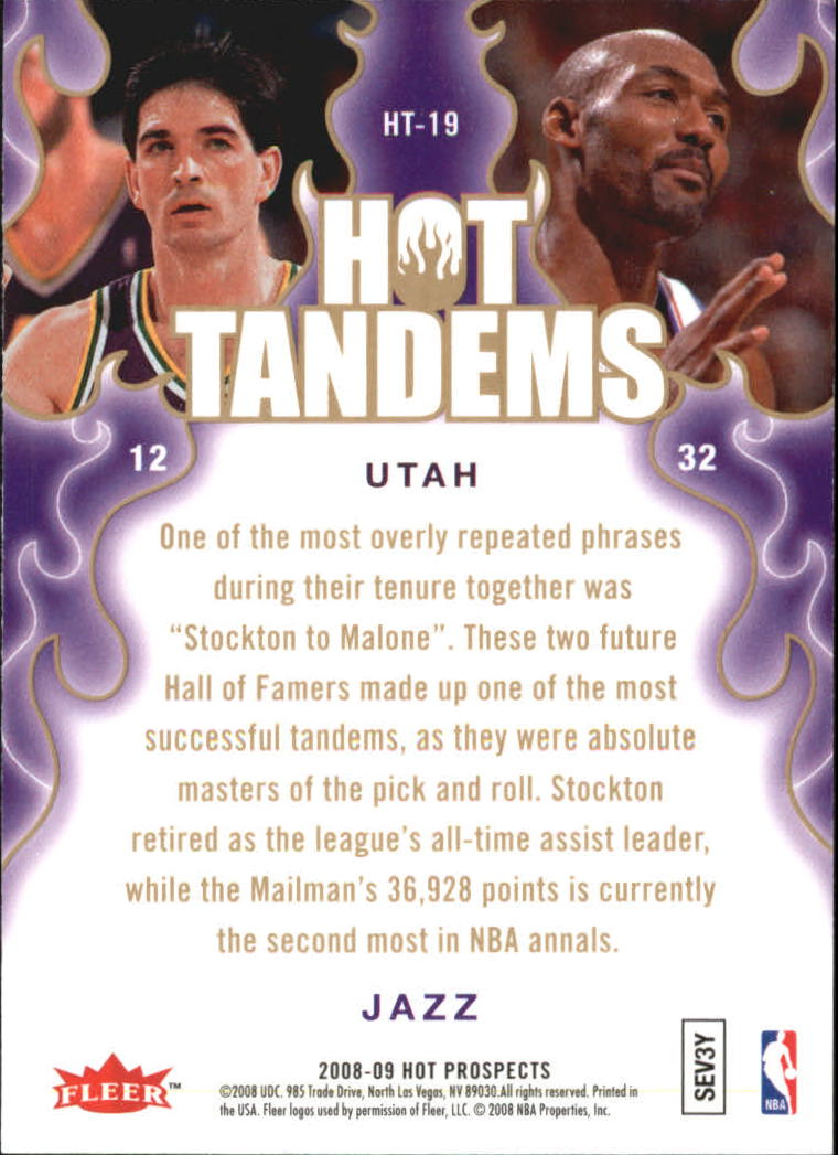 2008-09 Hot Prospects Hot Tandems #HT19 John Stockton/Karl Malone back image