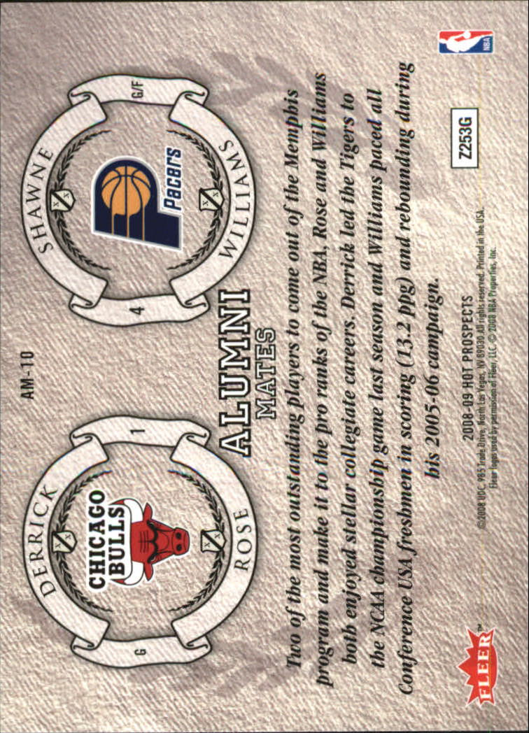 2008-09 Hot Prospects Alumni Mates #AM10 Derrick Rose/Shawne Williams back image
