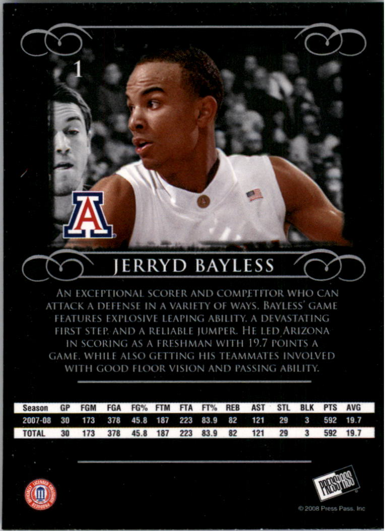 2008-09 Press Pass Legends #1 Jerryd Bayless back image