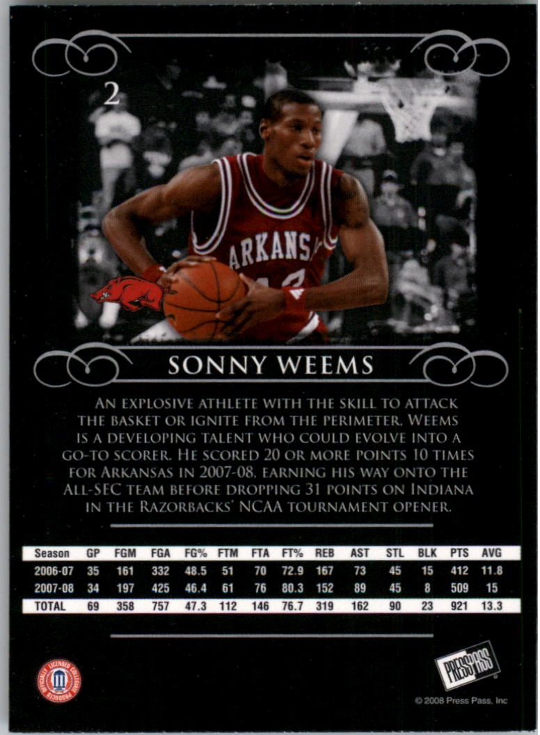 2008-09 Press Pass Legends #2 Sonny Weems back image