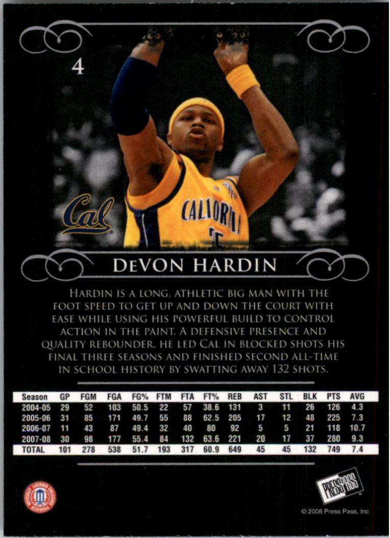2008-09 Press Pass Legends #4 DeVon Hardin back image