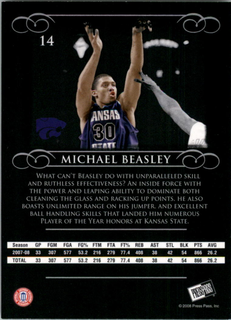 2008-09 Press Pass Legends #14 Michael Beasley back image