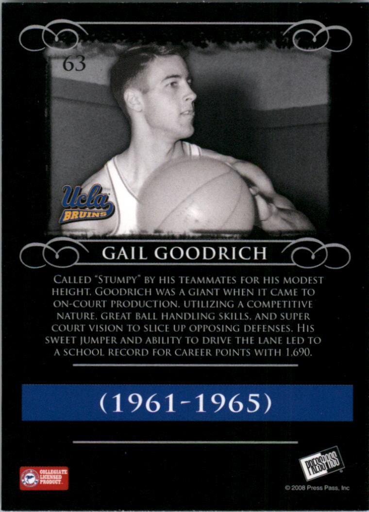2008-09 Press Pass Legends #63 Gail Goodrich back image