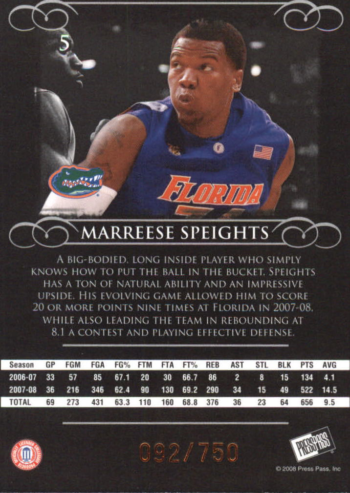2008-09 Press Pass Legends Bronze #5 Marreese Speights back image